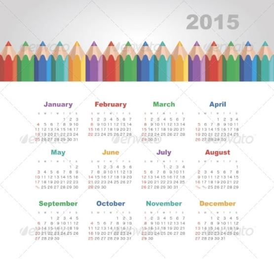 2015 Year Calendar PowerPoint Templates