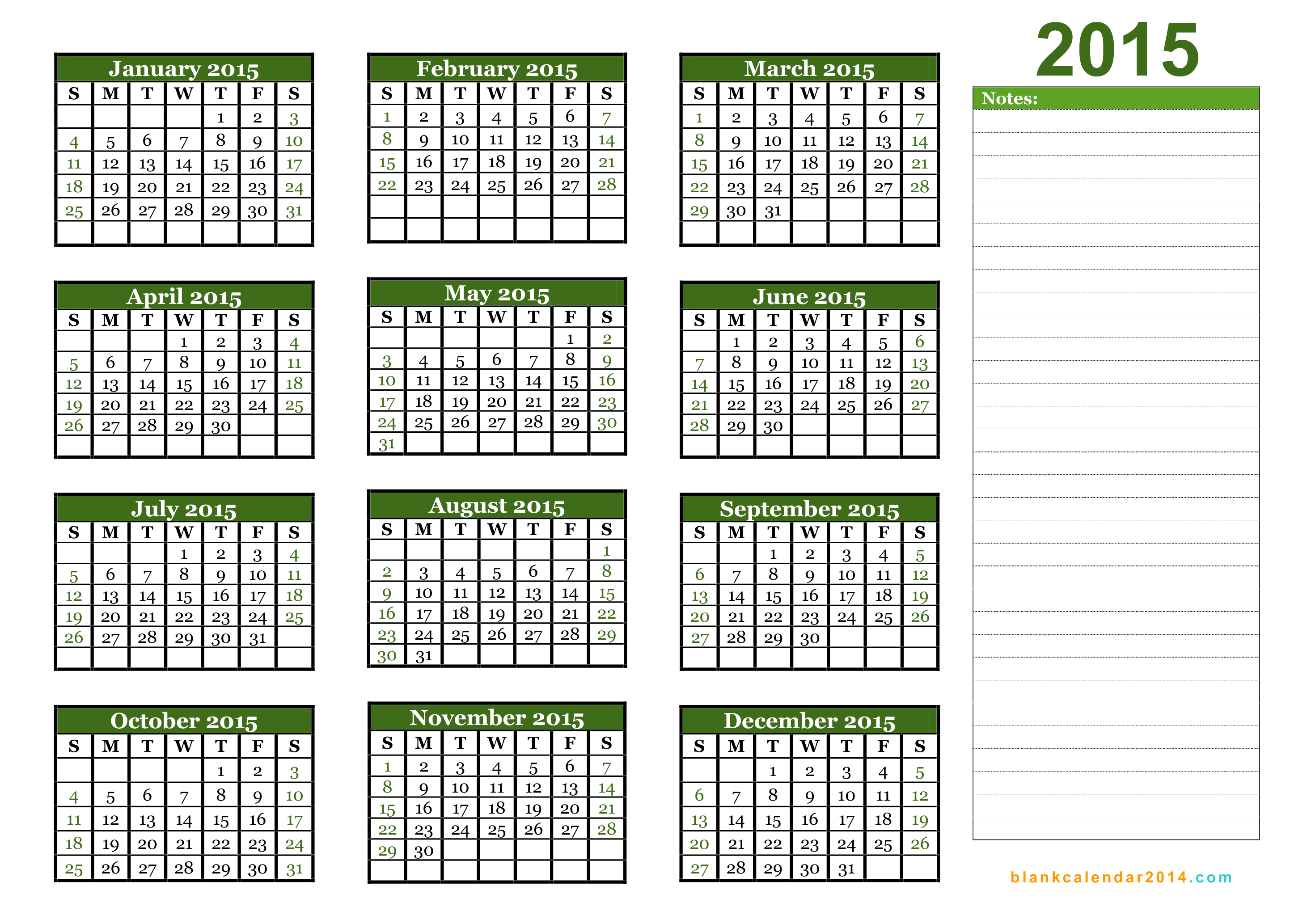 2015 Yearly Calendar Template