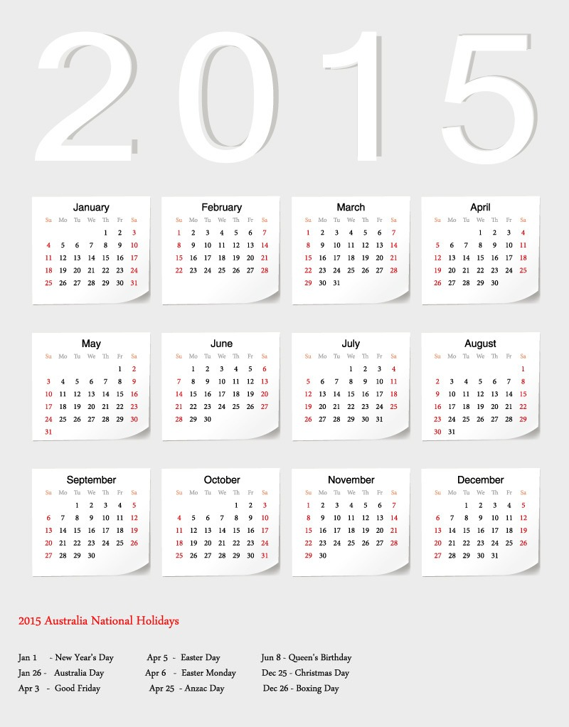2015 Yearly Calendar with Holidays