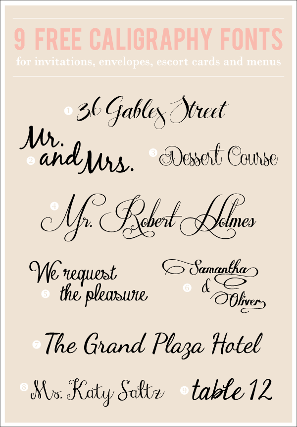 9 Free Calligraphy Fonts