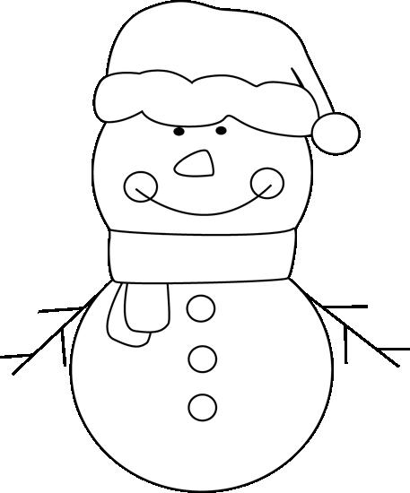 Black and White Snowman Clip Art