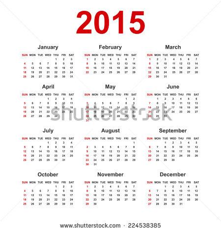Blank Yearly Calendar 2015