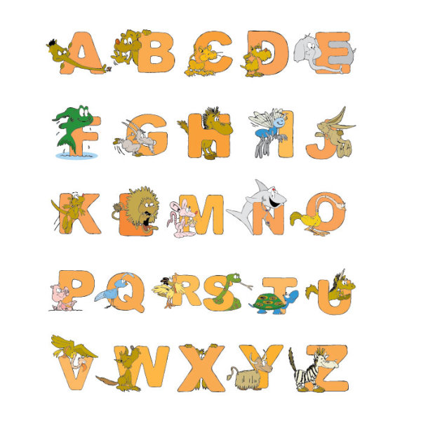 Cartoon Animal Letters