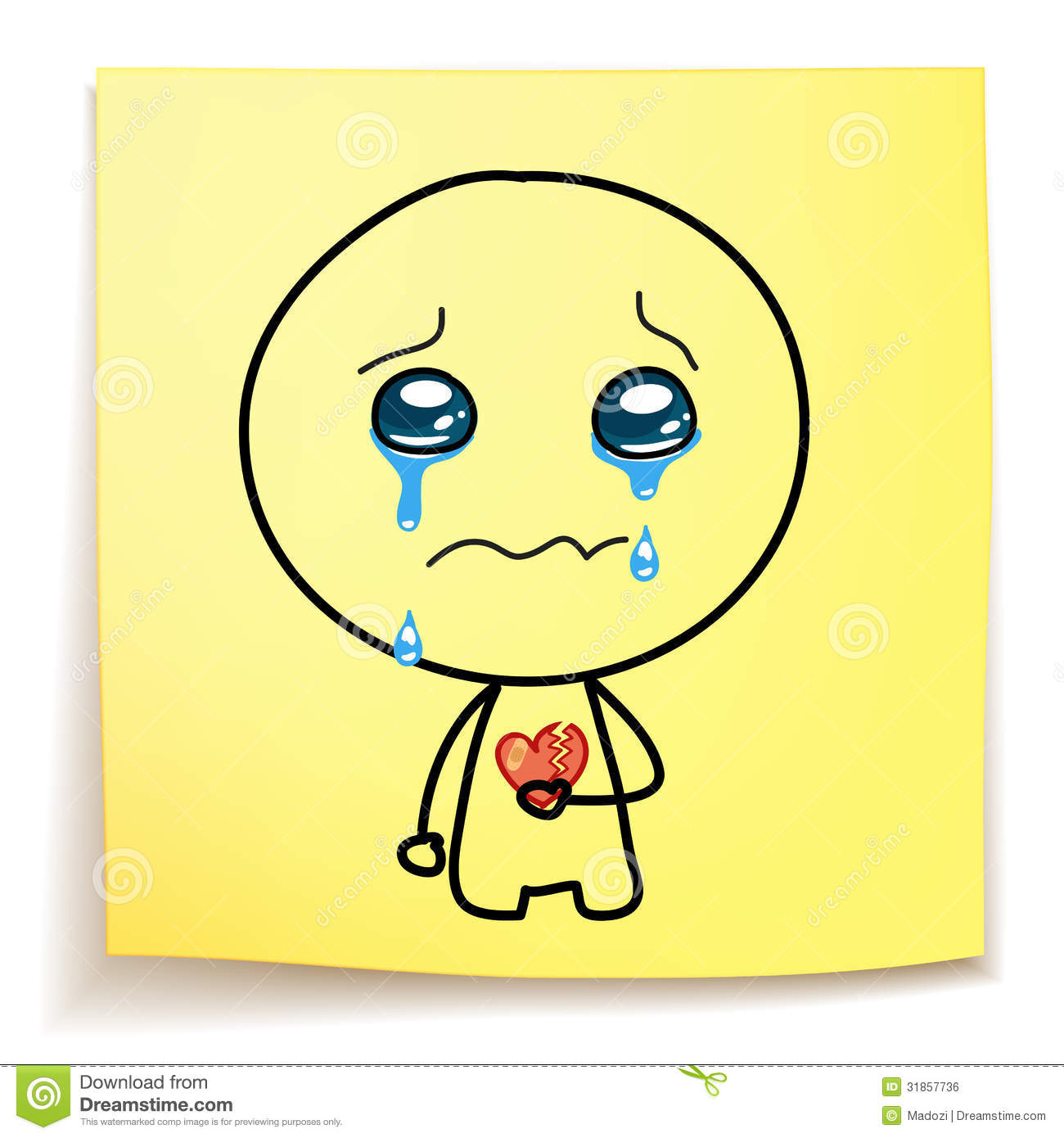 Cartoon Broken Heart Crying
