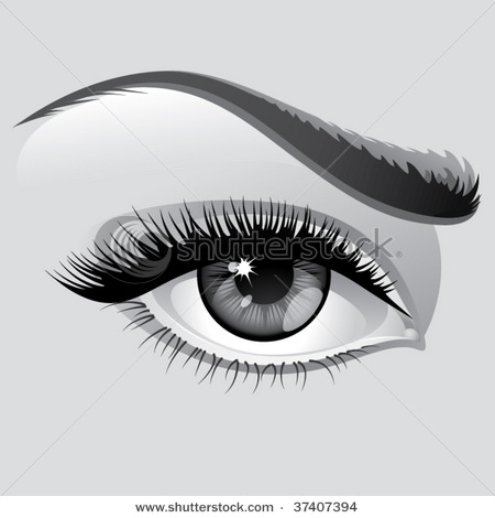 Cartoon Eyes with Eye Lashes Clip Art