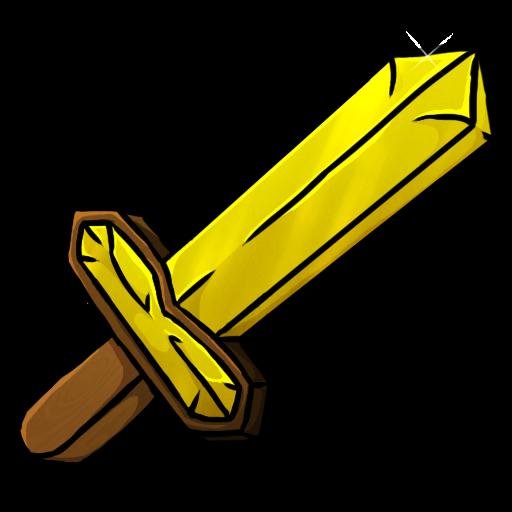 Cartoon Minecraft Gold Swords