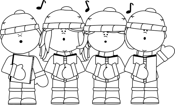 Christmas Carolers Clip Art Black and White