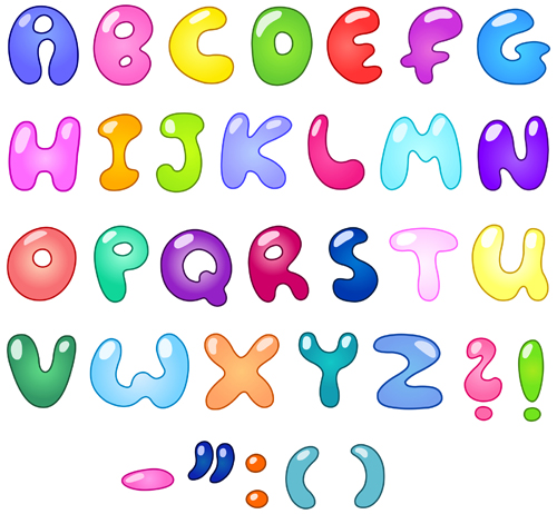 Colorful Bubble Letters