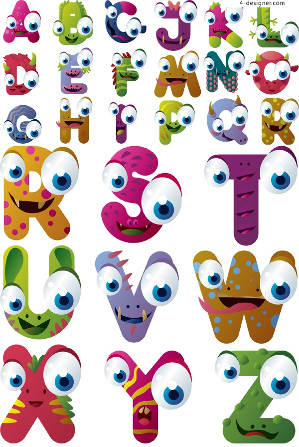 17 cartoon alphabet font images