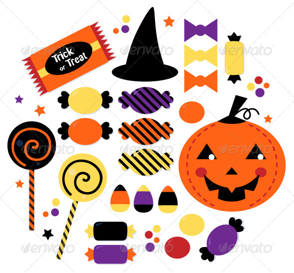 7 Halloween Candy Vector Images