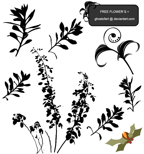 Flower Free Vector Plant Silhouettes
