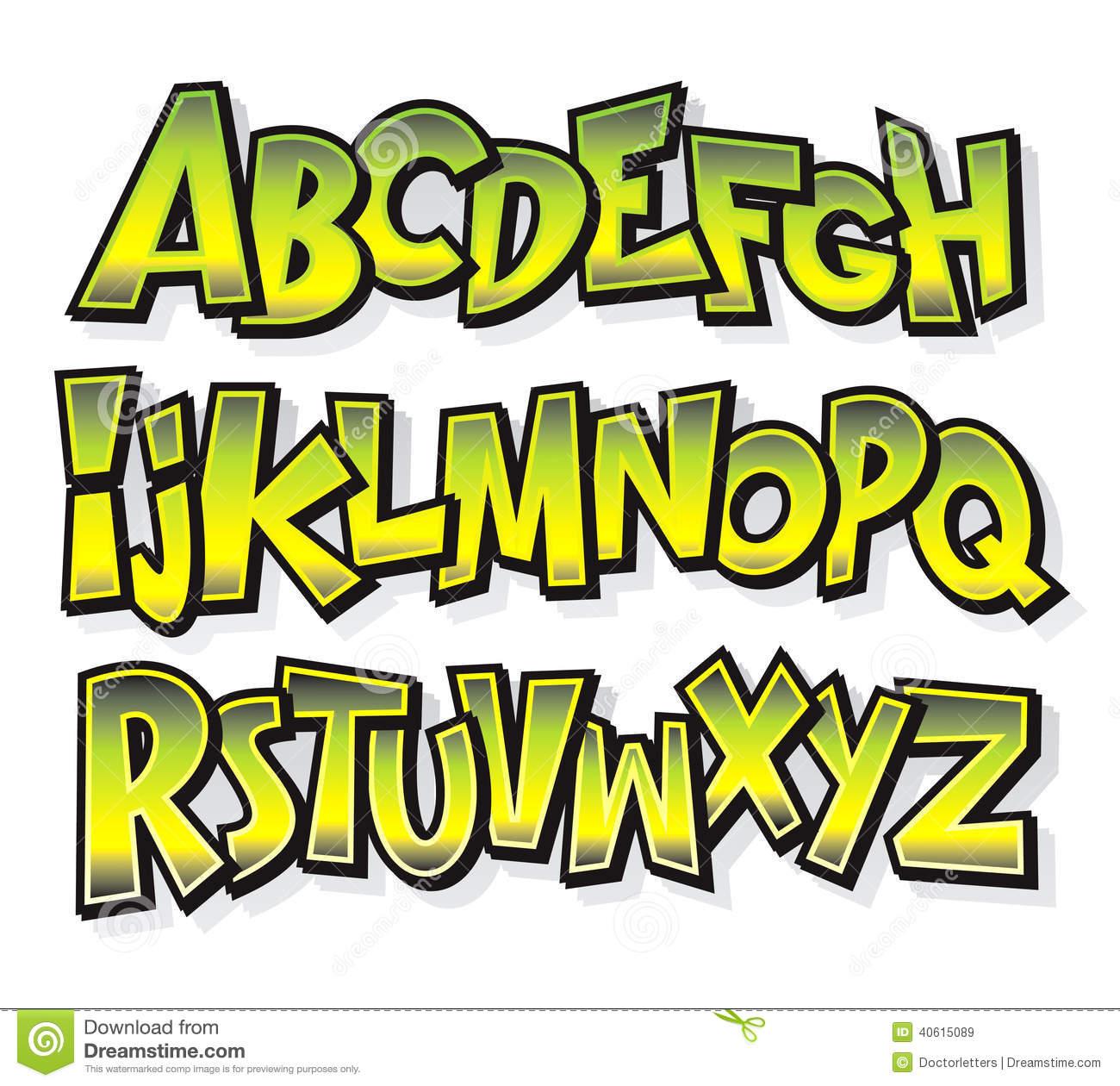Free Vector Comic Cartoon Font Alphabet Doodle
