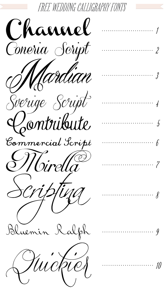 15 Free Calligraphy Script Wedding Fonts Images