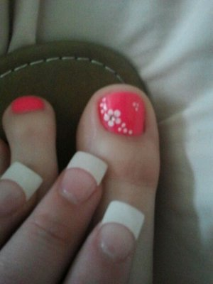 French Pedicure with Flower Design