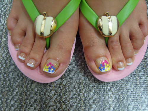 French Pedicure with Toe Nail Designs