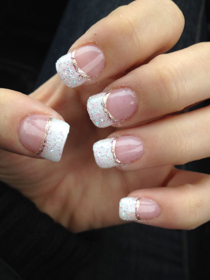 16 Glitter White Gel Nails Designs Images White Nail Designs With