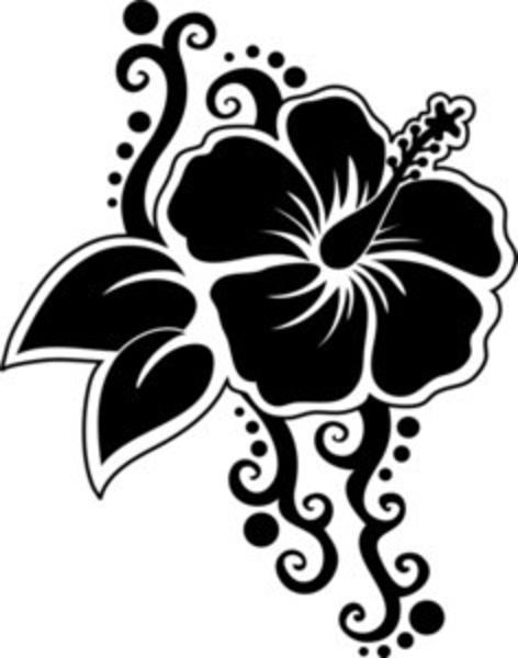 Hawaiian Flower Clip Art Silhouette