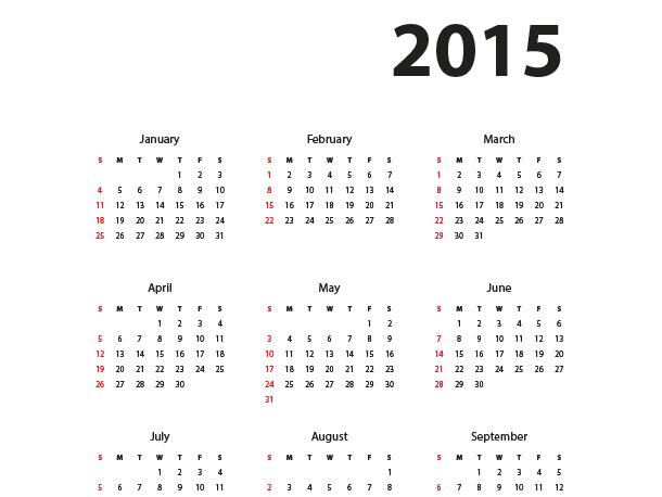 14 2015 Yearly Calendar Template Psd Images 2015 Calendar Year