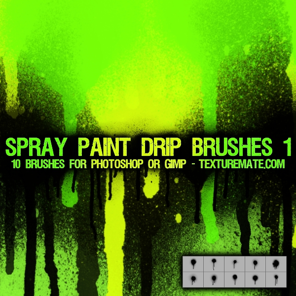 10 Dripping Paint Photoshop Brushes Images - Splatter Paint