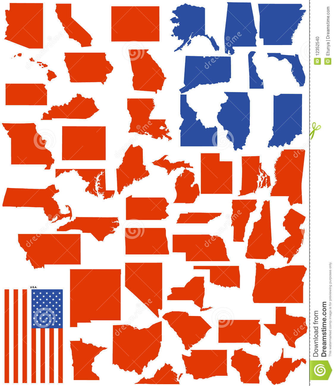 20 America States Vector Images