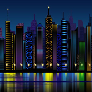 11 City At Night Vector Images