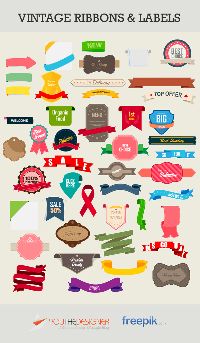 Vector Vintage Labels and Ribbon
