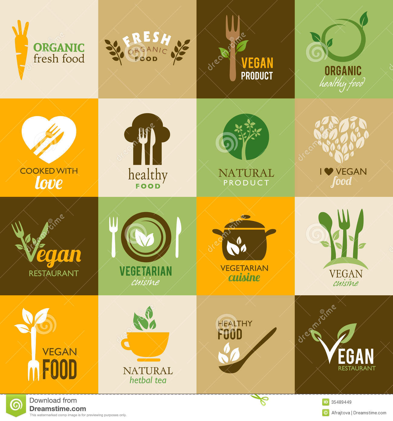 Vegetarian Healthy Food Icons