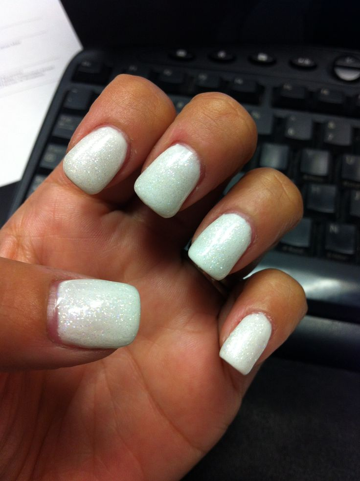 16 Glitter White Gel Nails Designs Images - White Nail Designs With Glitter White Diamond Gel ...