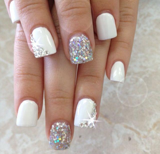 16 Glitter White Gel Nails Designs Images , White Nail