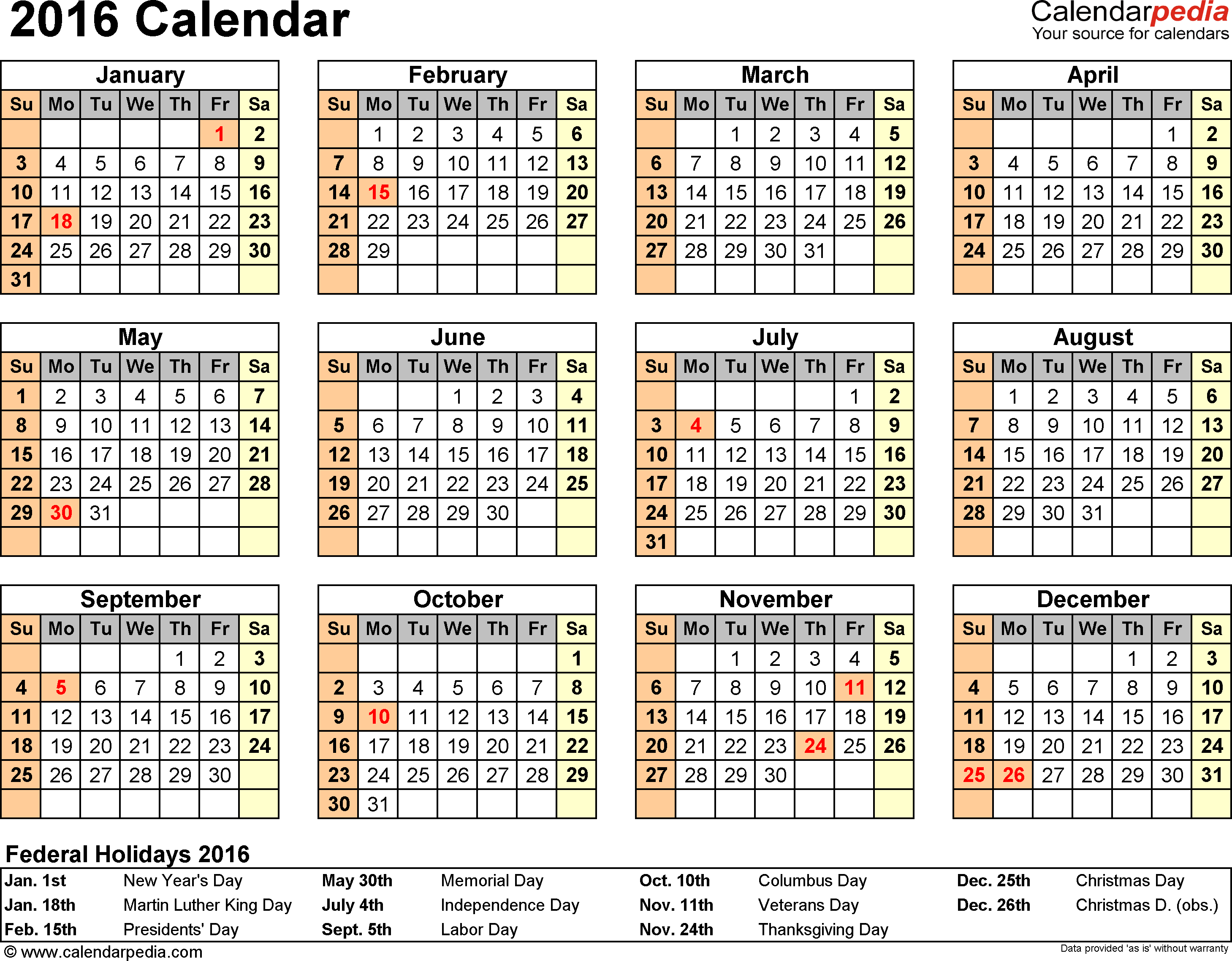 2016 Calendar Template With Holidays from www.newdesignfile.com