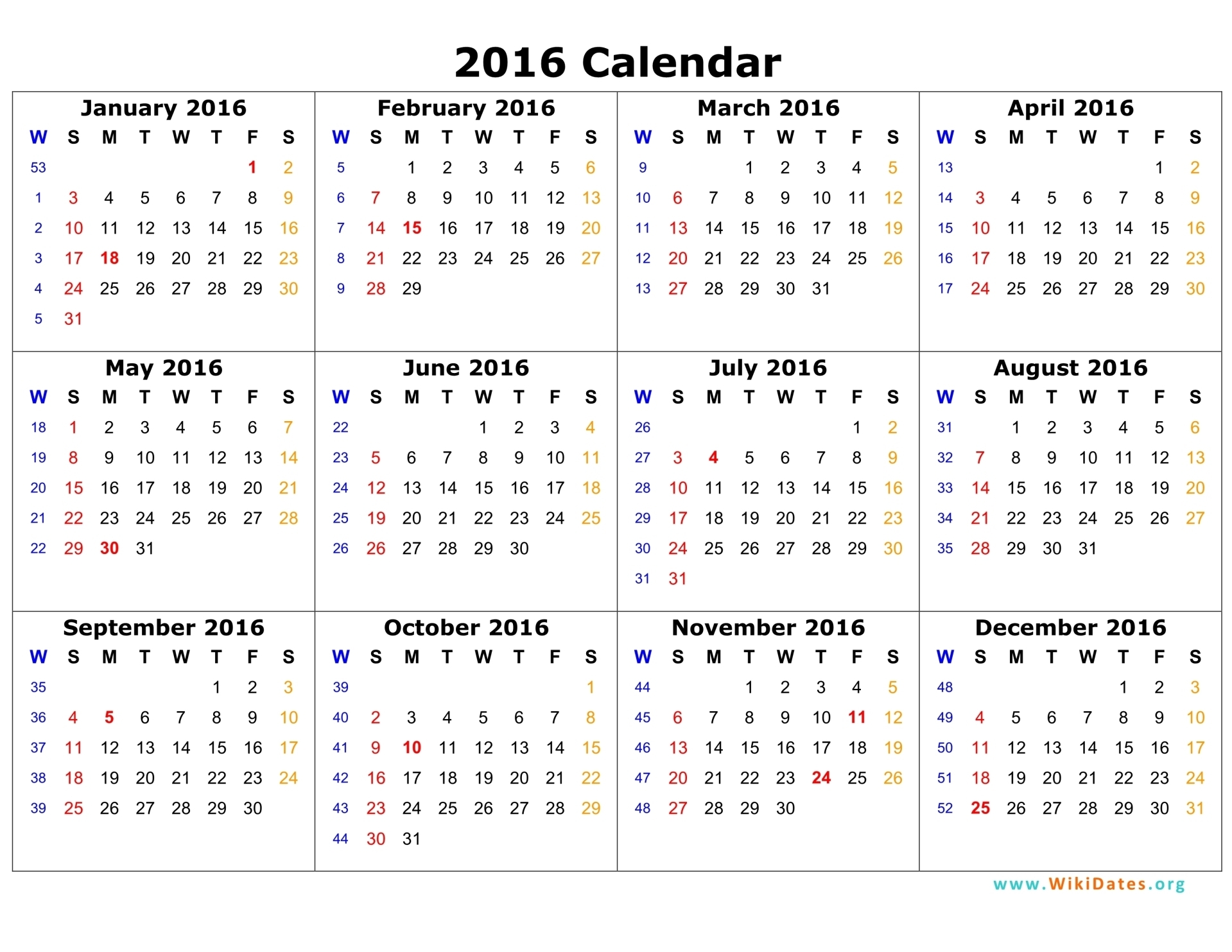 19 2016 Calendar Template Images January 2016 Printable Calendar