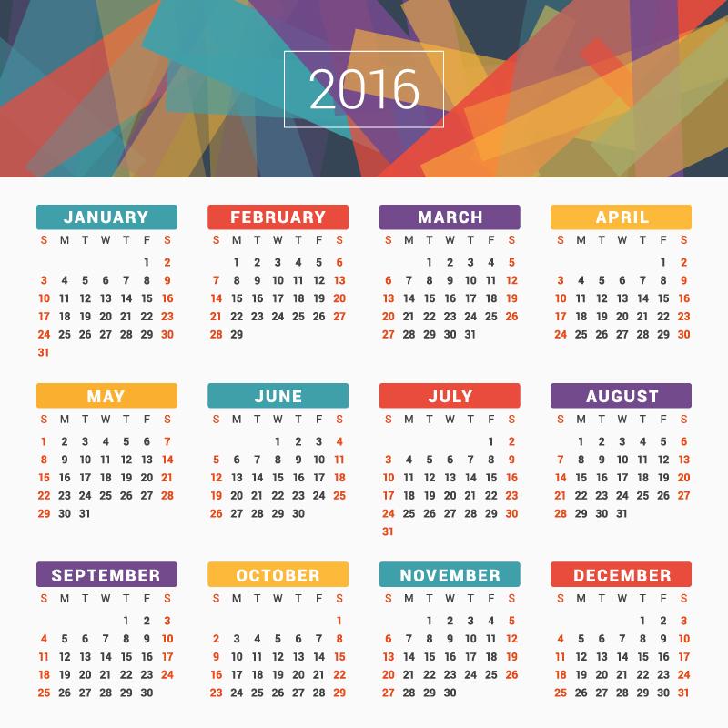 2016 Calendar Template Vector