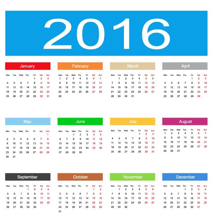 2016 February Calendar Clip Art Free
