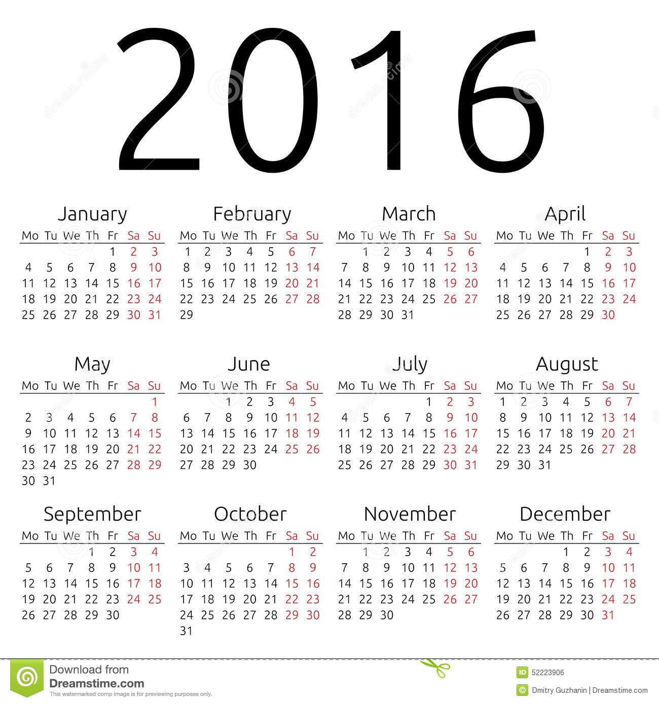2016 Year Calendar Printable