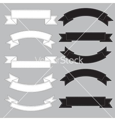 Black and White Ribbon Banner Vector