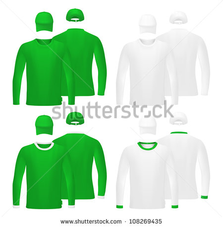 9 Long Sleeve T -Shirt Template Vector Images
