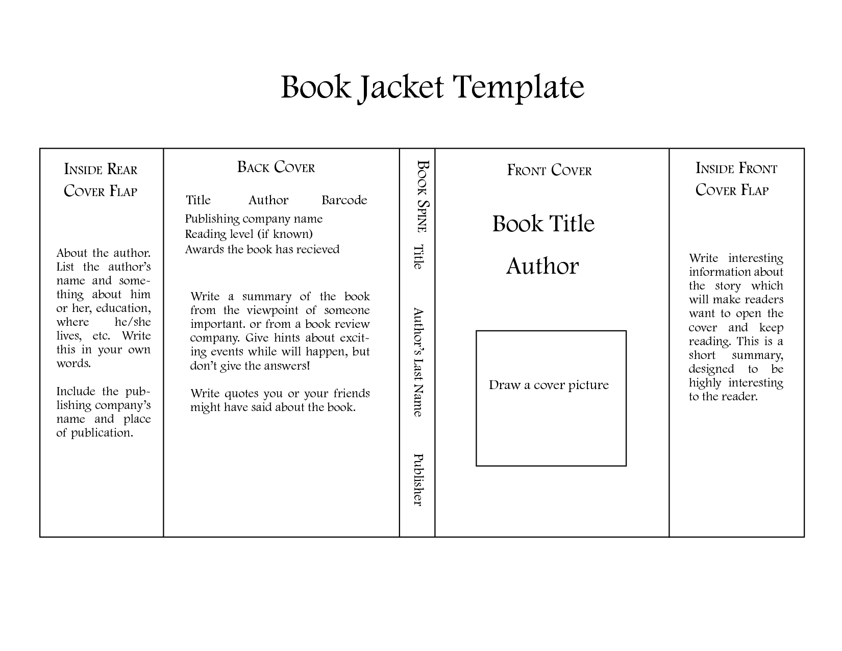 Book Jacket Project Template