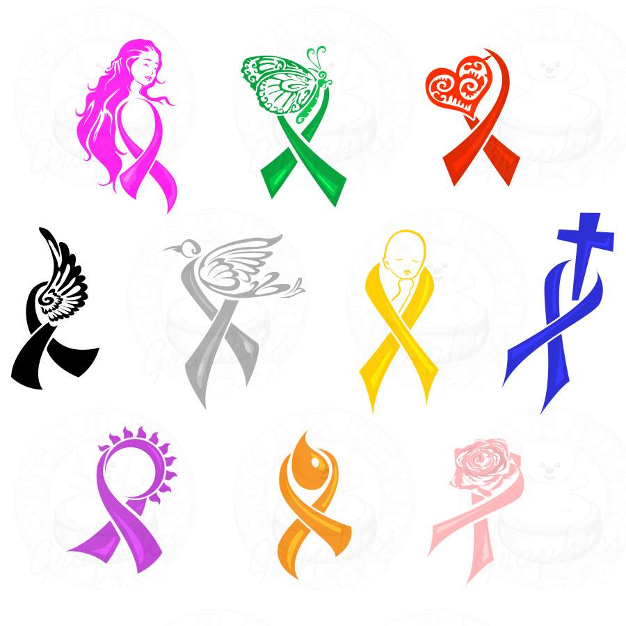 16 Cause Ribbon Vector Graphic Images