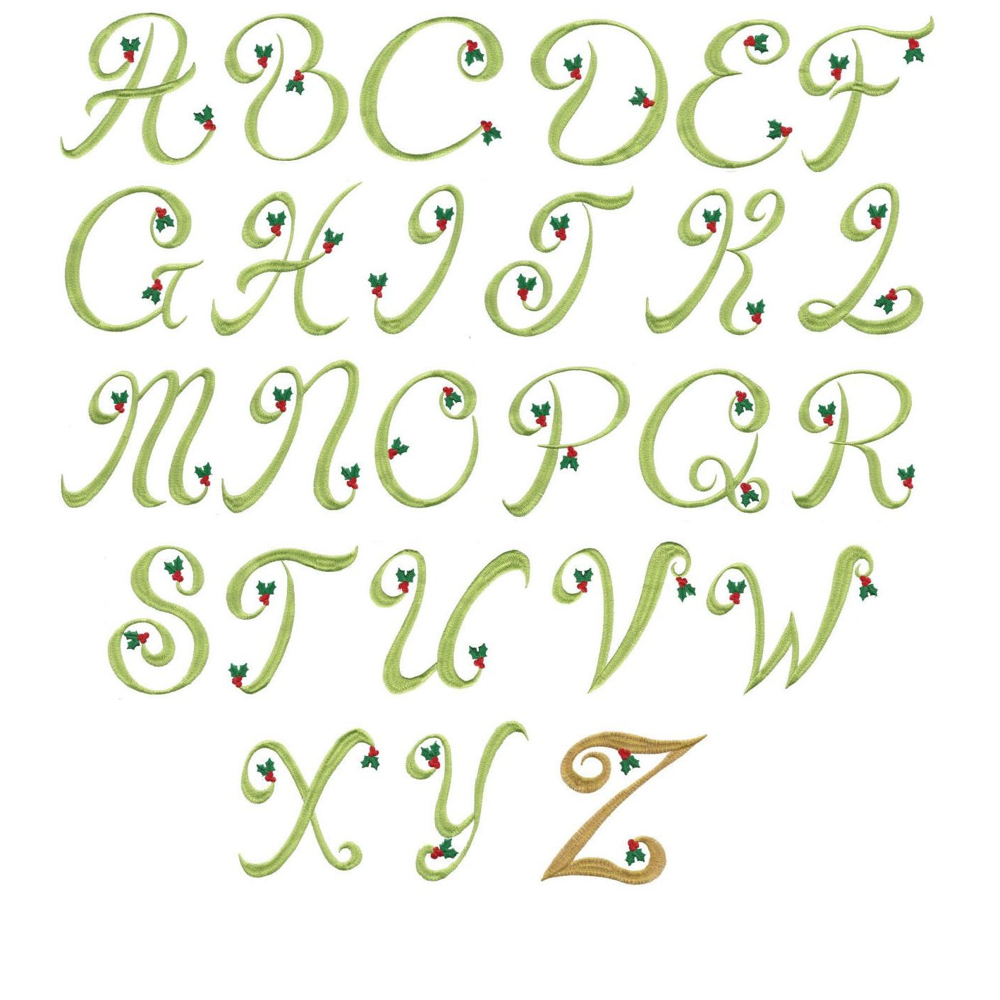 Christmas Machine Embroidery Font Alphabet