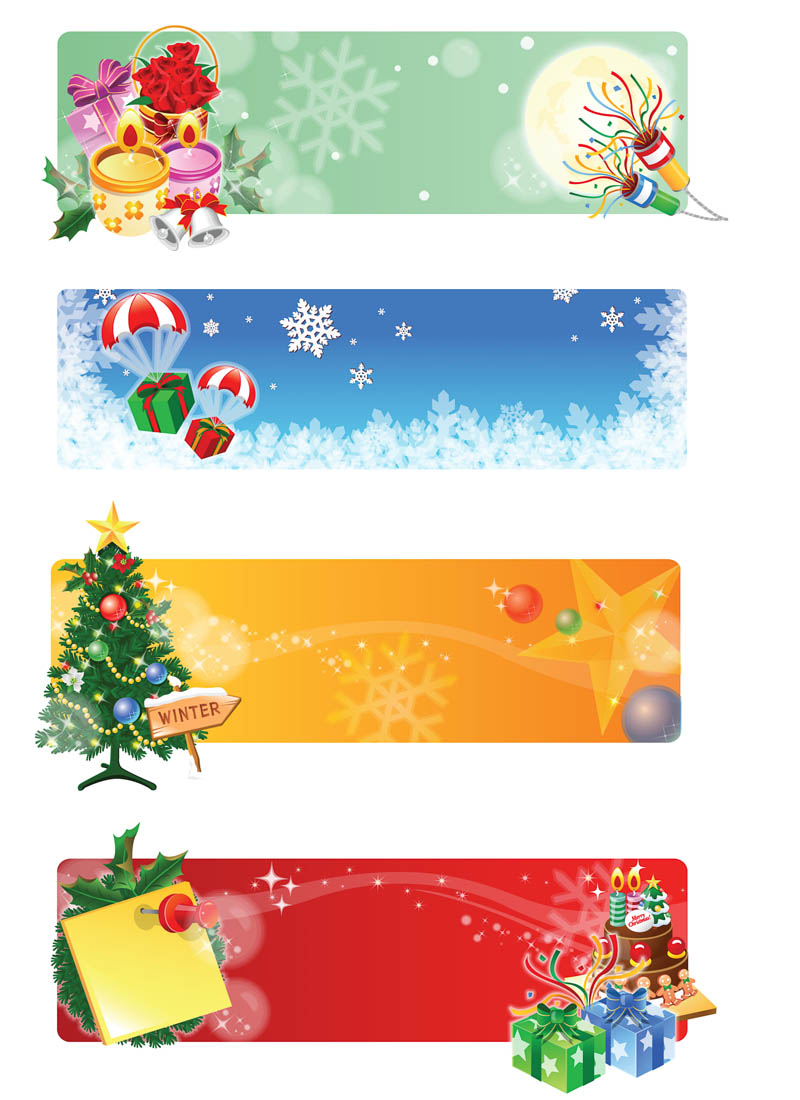 17 Christmas Banner Vector Images