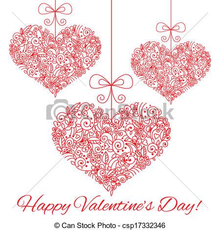 Elegant Valentine Hearts Clip Art