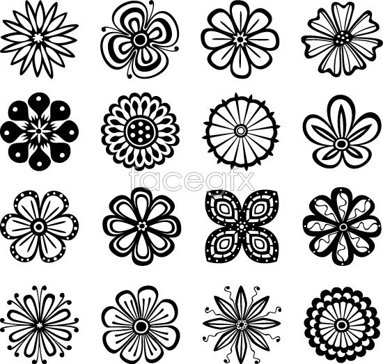 Line Drawing Flower Pattern : Line patterns vector images simple design