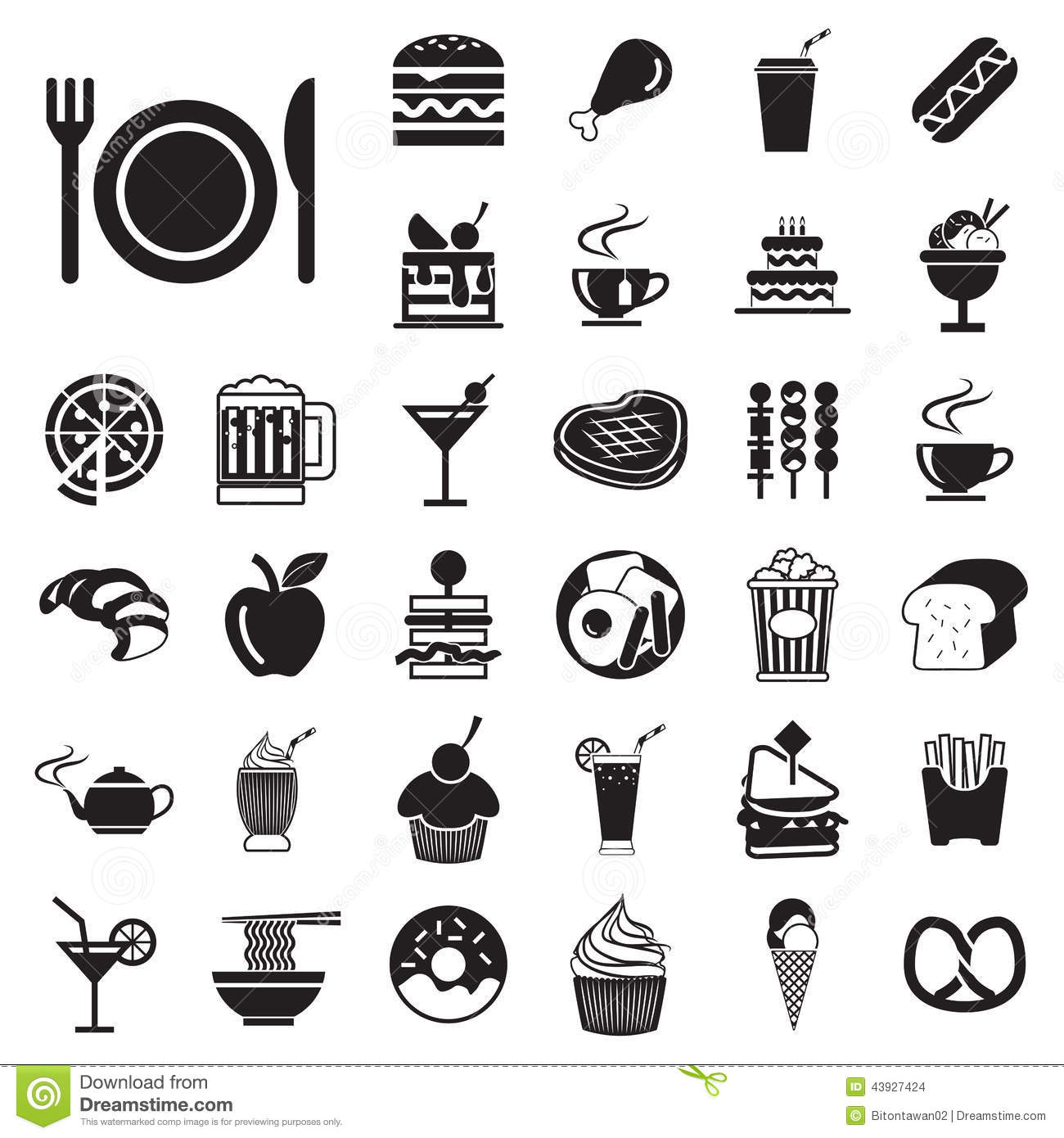 Food Menu Icons Silhouettes
