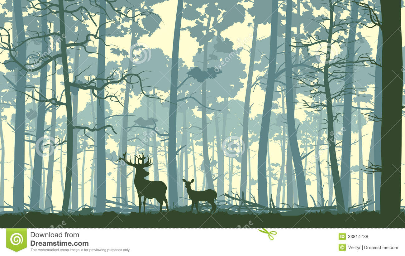 14 Trees Forest Animals Vector Graphics Images
