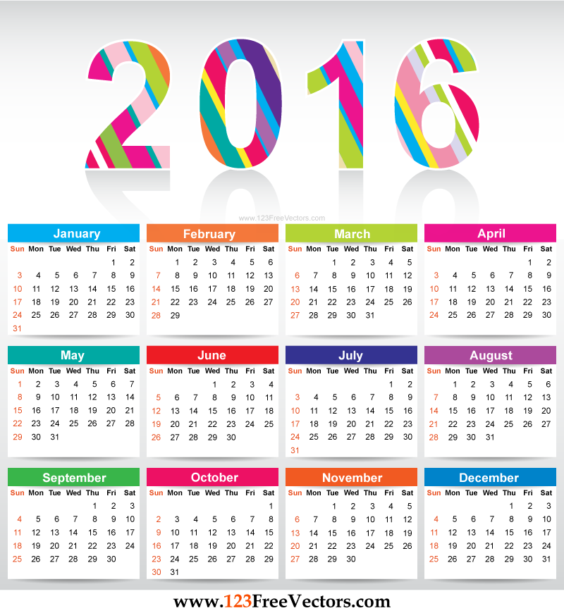 Free Colorful Printable Calendar 2016