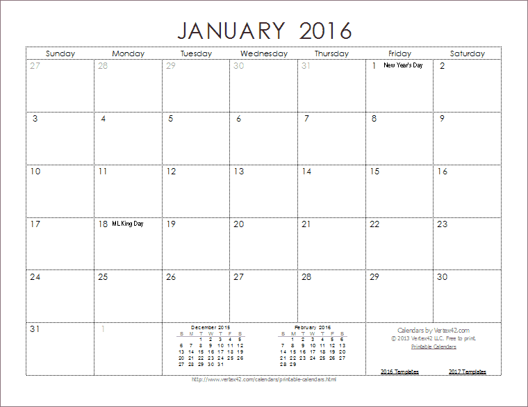 19 2016 Calendar Template Images January 2016 Printable Calendar