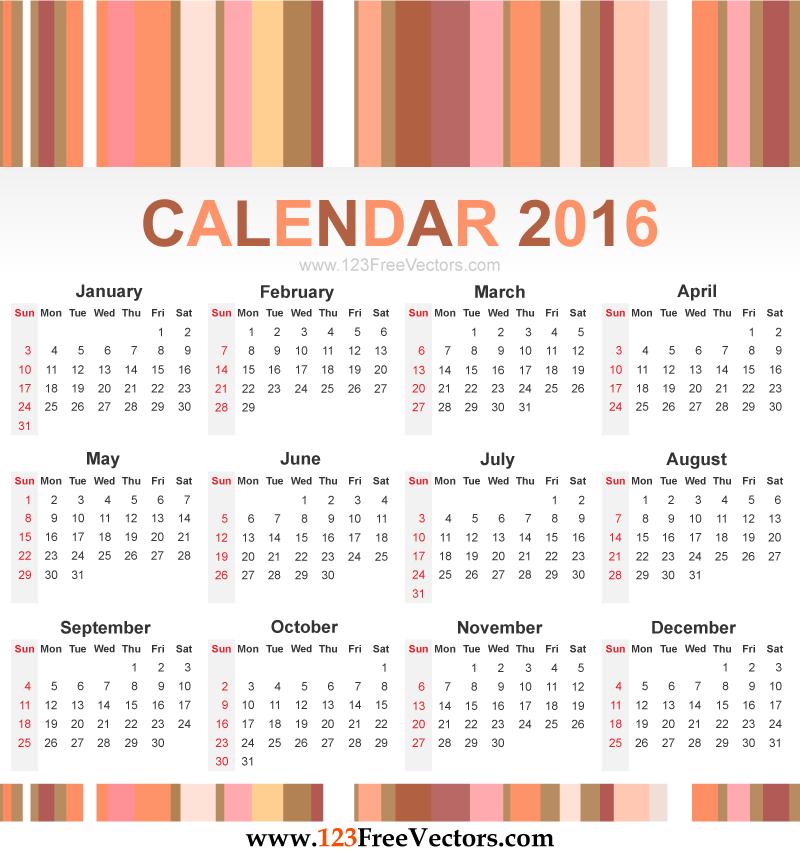 Free Vector Calendar 2016