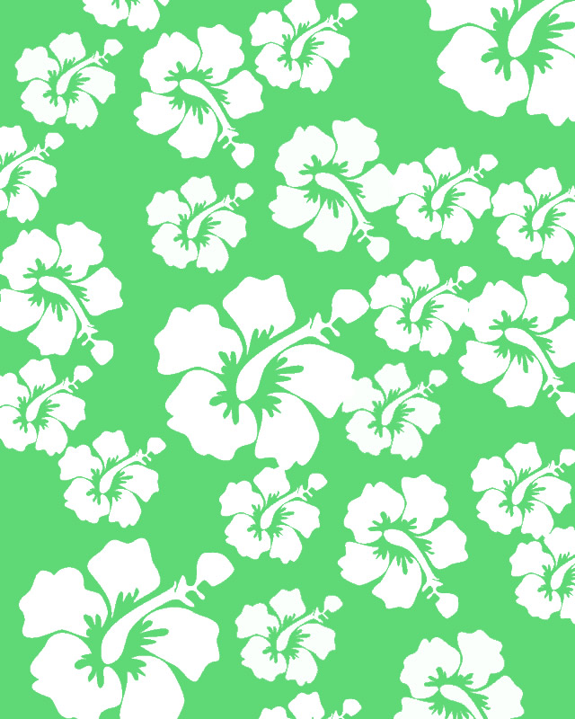 Hawaii Flower Pattern Paper Green