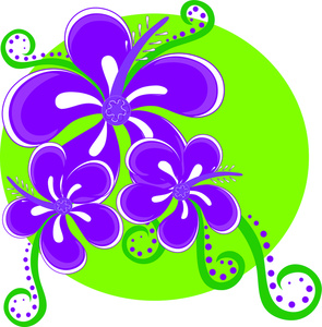 Hawaiian Tropical Flowers Clip Art