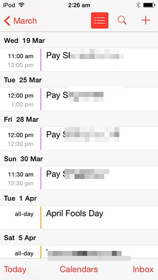 iOS List View Calendar of Events